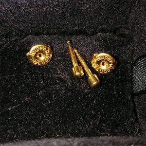 "Surgical steel goldtone stud earrings.""Super Stud"""